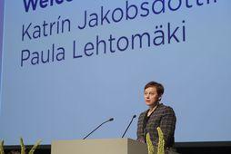 Paula Lethomäki, framkvæmdastjóri Norrænu ráðherranefndarinnar, flutti ávarp í Hörpu í dag.