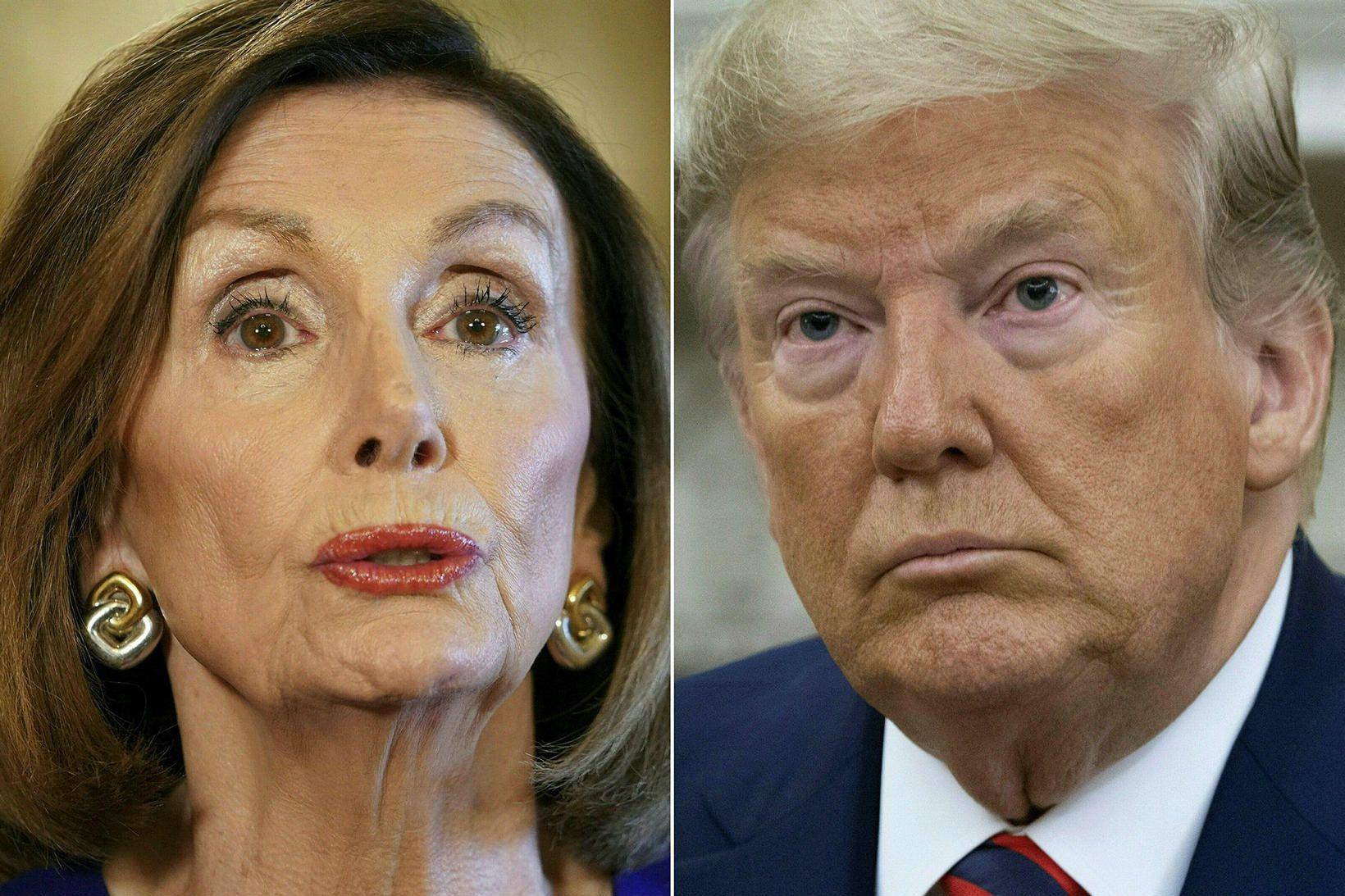 Samsett mynd af Nancy Pelosi, forseta fulltrúadeildar Bandaríkjaþings, og Donald …