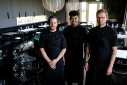 Kokkarnir Víðir Erlingsson, Rúnar Pierre Heriveaux og Ólafur Ágústsson standa vaktina á Sjálandi.