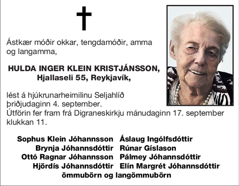 Hulda Inger Klein Kristjánsson,