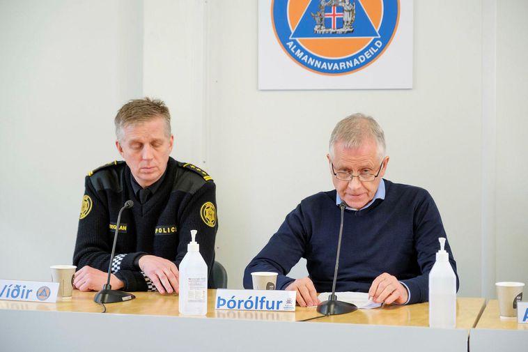 Chief Superintendent Víðir Reynisson and Chief Epidemiologist Þórólfur Guðnason.