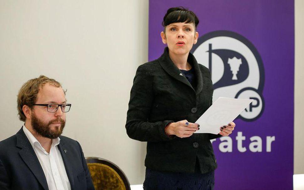 Smári McCarthy og Birgitta Jónsdóttir á blaðamannafundi Pírata í gær.