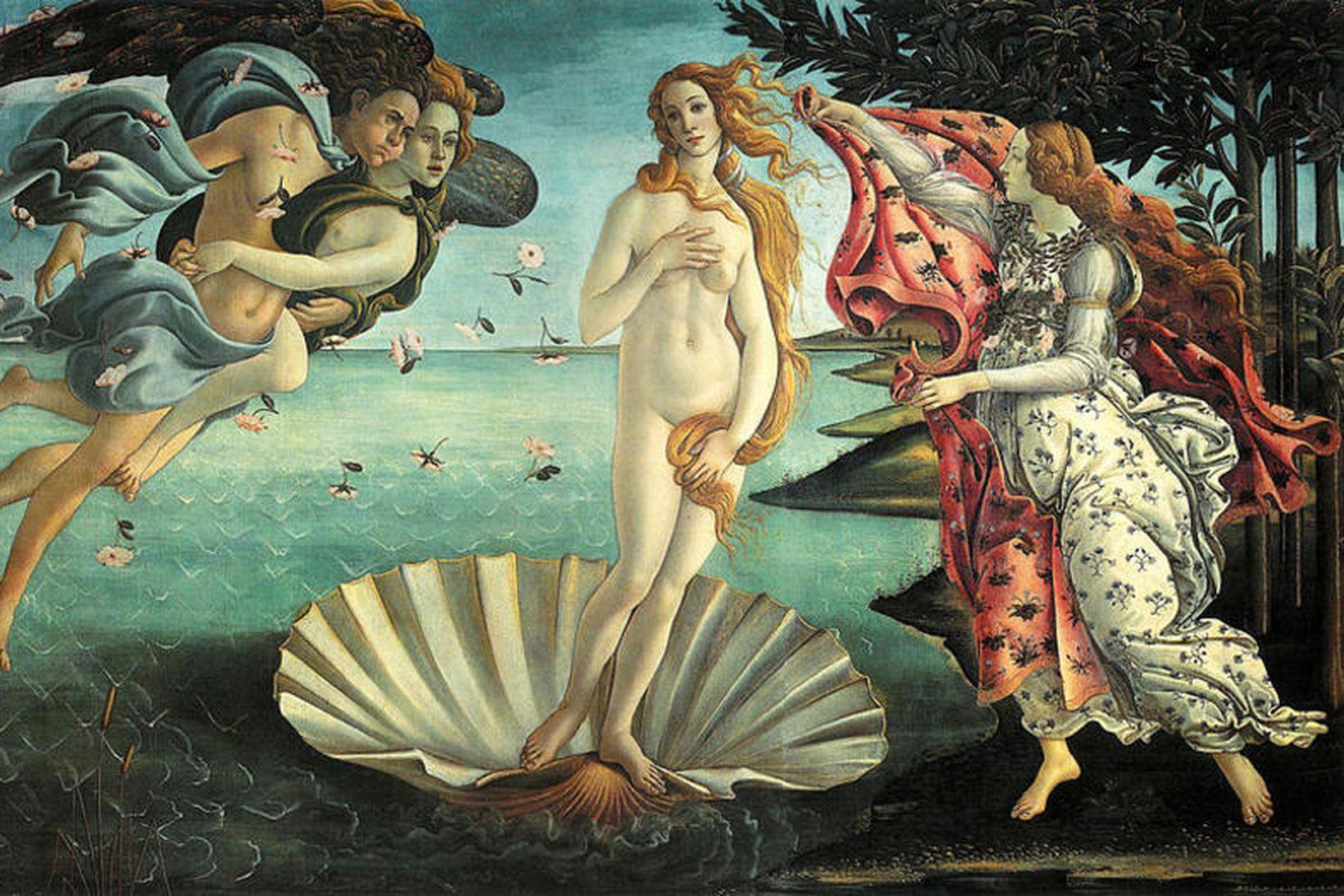 """""""Fæðingu Venusar"""" eftir Sandro Botticelli."""
