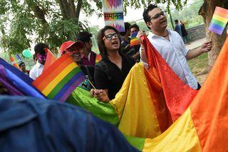 Baráttufólk fyrir réttindum LGBT í Nýju-Delí á Indlandi í vikunni.