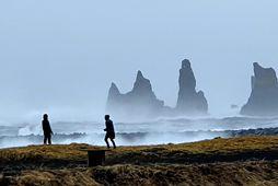 Mikill vindur og öldugangur var í Reynisfjöru er fréttaritara mbl.is bar að garði í hádeginu.