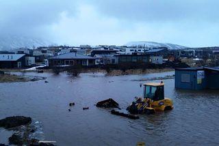 Mosfellsbær fór á flot í óveðrinu þann 14. mars síðastliðinn.
