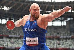 Guðni Valur Guðnason í kasthringnum á Ólympíuleikvanginum í Tókýó í nótt.