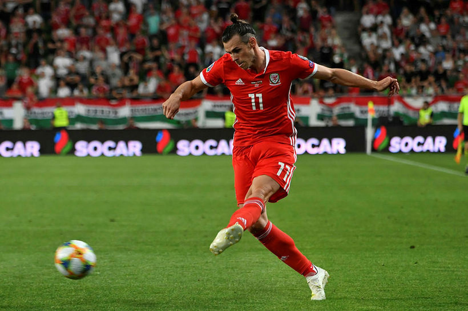 Gareth Bale í landsleik með Wales í sumar.
