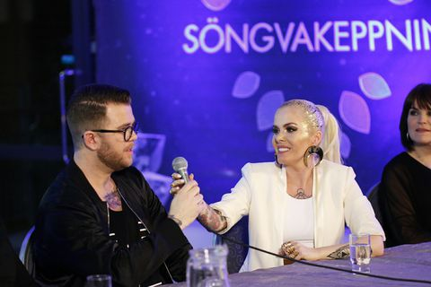 Svala and her team answer questions following her win at Iceland's preliminary contest on Rúv last night.