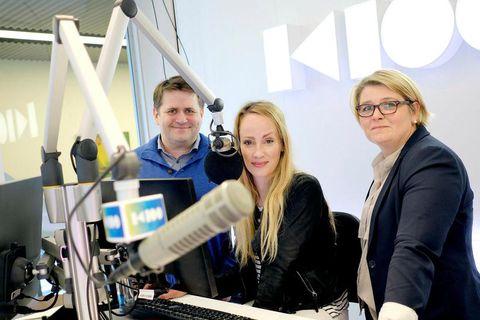 Radio hosts Auðun Georg Ólafsson, Sigríður Elva Vilhjálmsdóttir and Hulda Bjarnadóttir at the studio of K100.