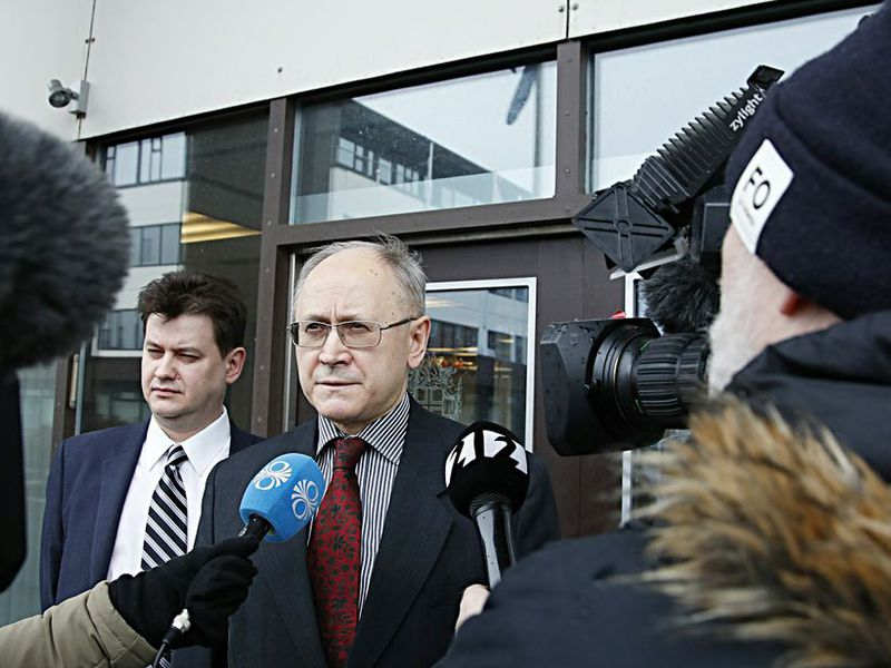 Anton Vasiliev, the Russian Ambassador to Iceland, leaving the Foreign Ministry yesterday.