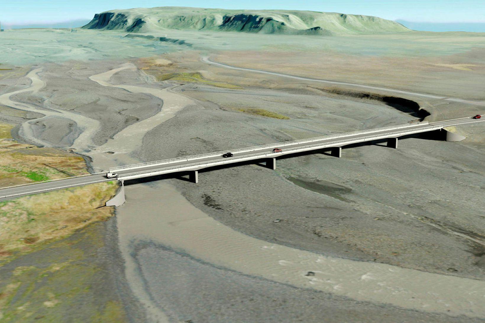 Sólheimasandur. Nýja brúin verður væntanlega tilbúin í nóvember 2021.
