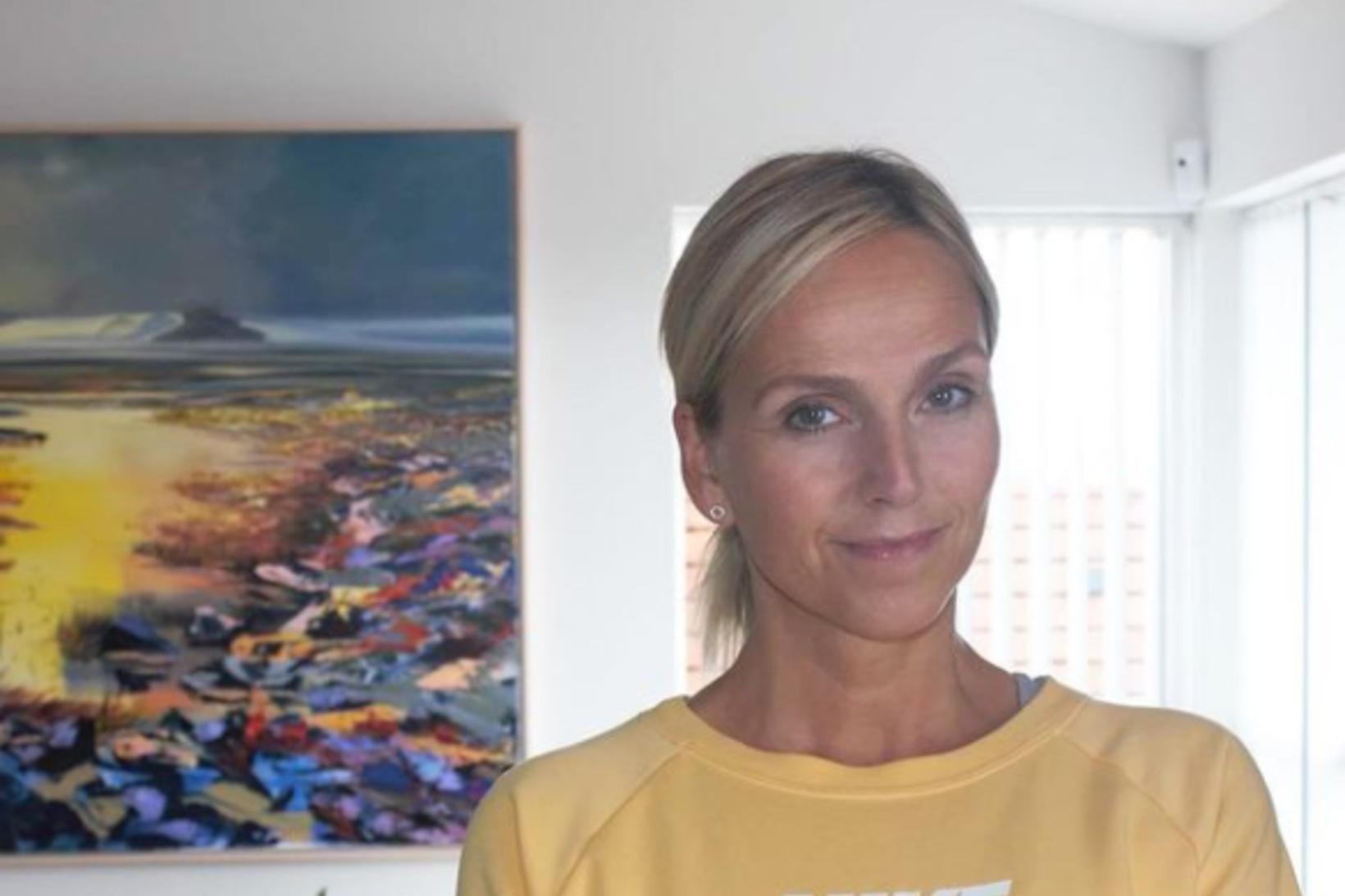 Telma Matthíasdóttir notaði pott í heimaæfingunni!