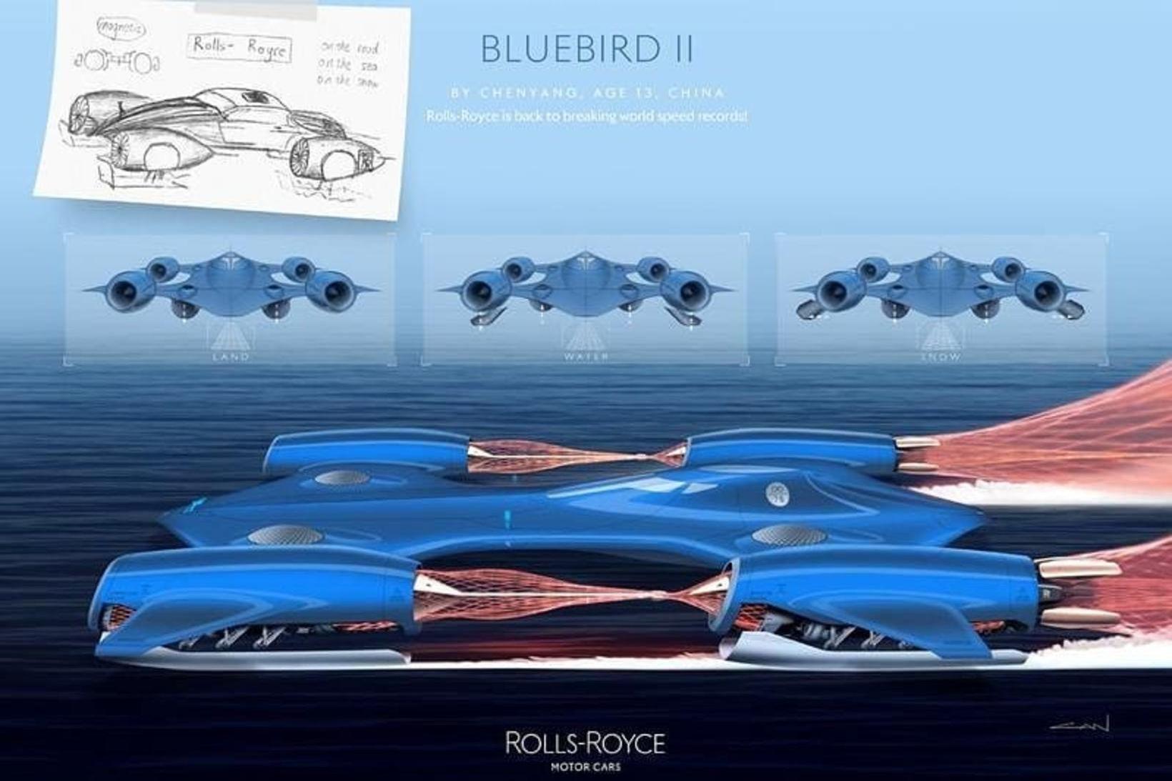 13 ára Kínverji teiknaði þennan Rolls Royce Bluebird II