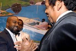 Kanye West og Jay-Z virtust kátir að sjá hvor annan.