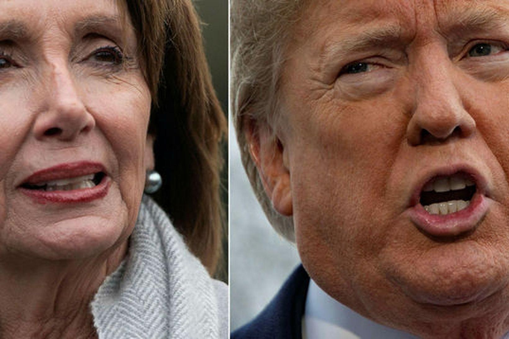 Nancy Pelosi, forseti fulltrúadeildar Bandaríkjaþings, og Donald Trump Bandaríkjaforseti. Bæði …