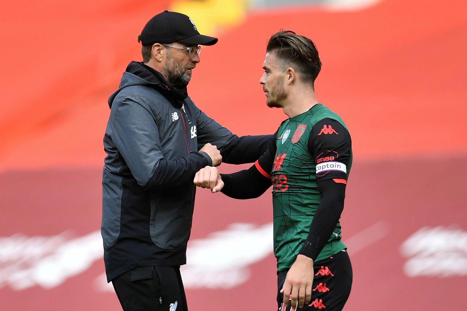 Jürgen Klopp og Jack Grealish heilsast er Liverpool og Aston …