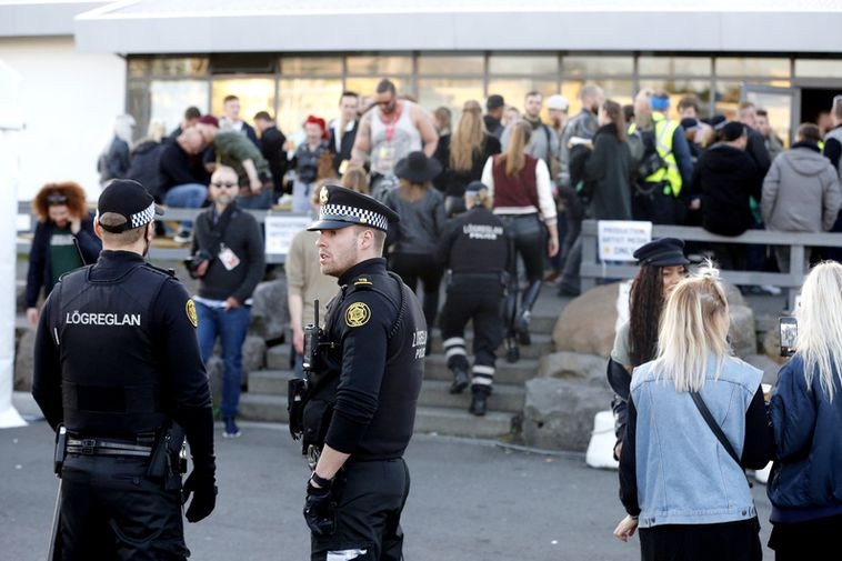 Police at the scene of the fight on Saturday at Secret Solstice in Laugardalur, Reykjavik.