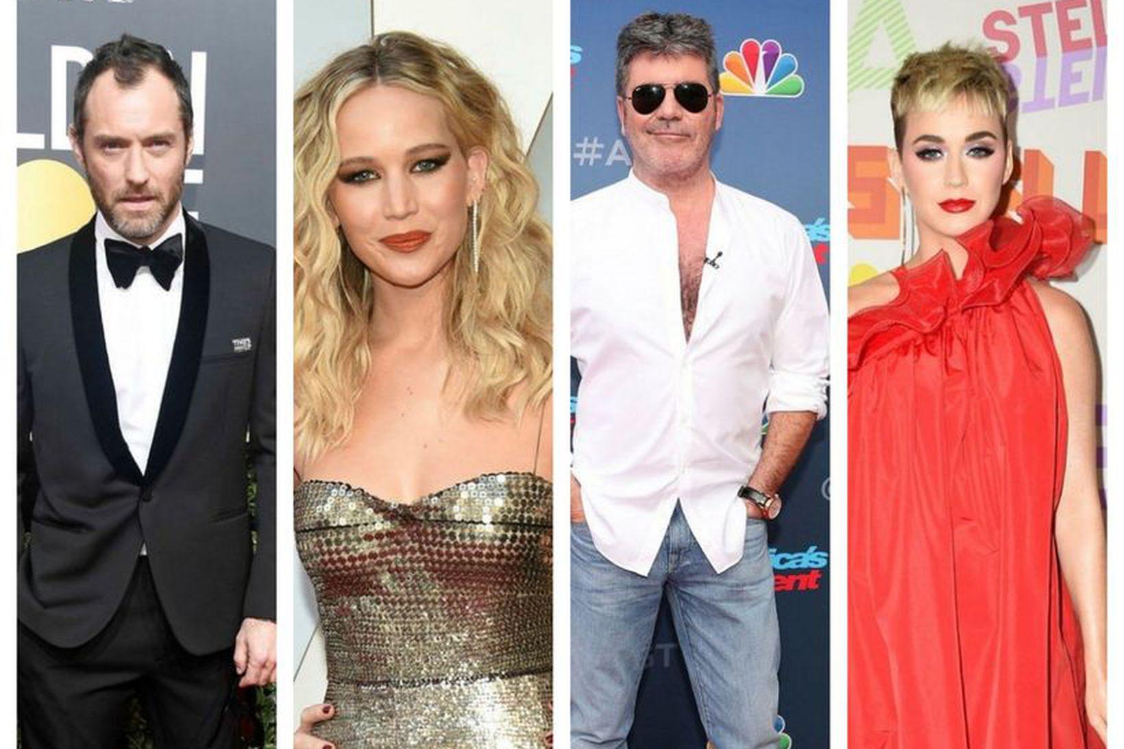 Jude Law, Jennifer Lawrence, Simon Cowell og Katy Perry eiga …