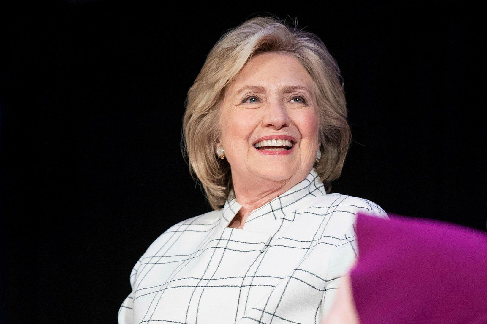 Hilary Clinton er stödd í Bretlandi þar sem hún kynnir …