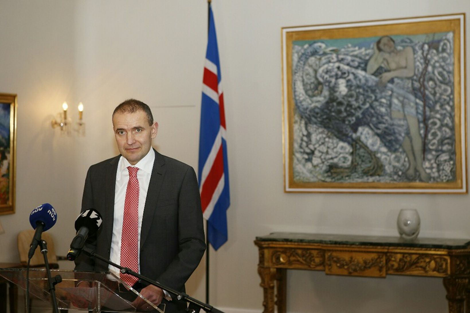 Guðni Th. Jóhannesson, forseti Íslands á blaðamannafundi á Bessastöðum í …