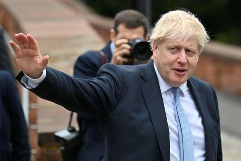 Boris Johnson, forsætisráðherra Bretlands, í morgun.