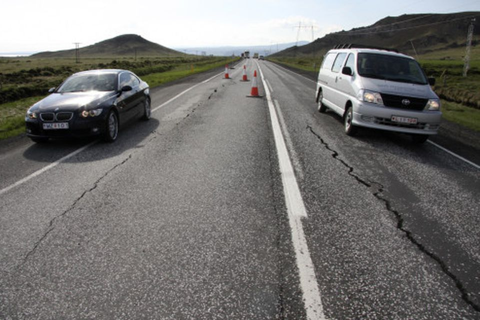 Vegaskemmdir á Suðurlandsvegi