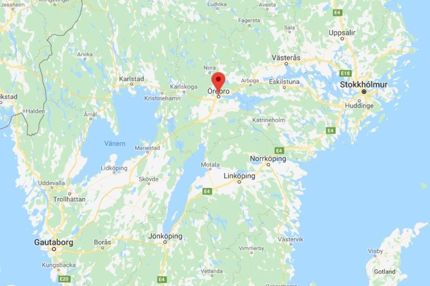 Slysið varð skammt frá sænsku borginni Örebro.