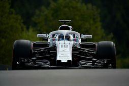 Lance Stroll á Williamsbílnum í belgíska kappakstrinum í Spa-Francorchamps. Útlit er fyrir að hann klári …