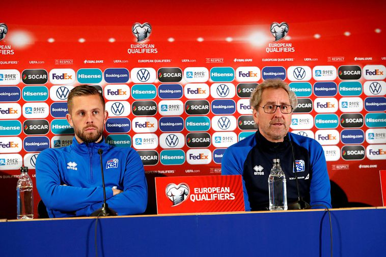Gylfi Þór Sigurðsson and Coach Erik Hamrén, at a press conference yesterday.