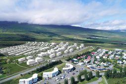Þrívíddarmynd af skipulagstillögunni fyrir nýtt tæplega 1.000 íbúða hverfi vestan Borgarbrautar á Akureyri.