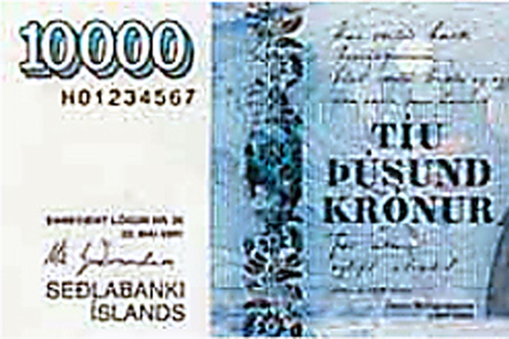 10.000 kr. seðill merktur með Z á undan raðnúmerinu er …