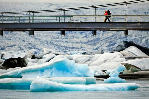The barrier protects the bridge from icebergs large enough they could damage it.