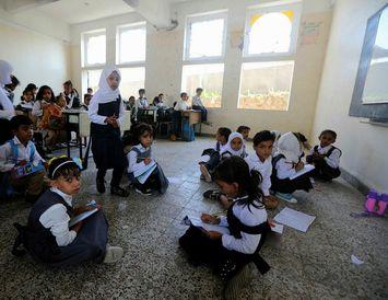 Nemendur í Jemen sneru aftur í skólann í vikunni eftir sumarfrí.