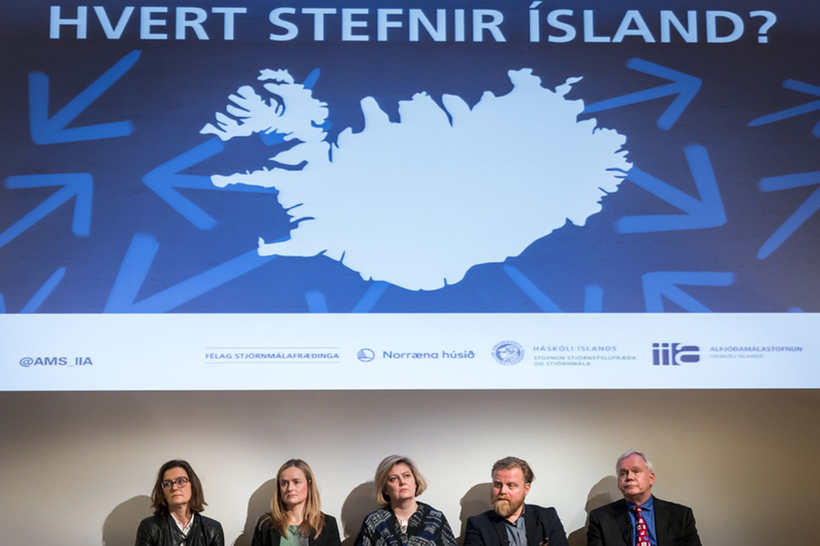 Salvör Nordal, Hulda Þórisdóttir, Kristrún Heimisdóttir, Ásgeir Jónsson og Hannes …