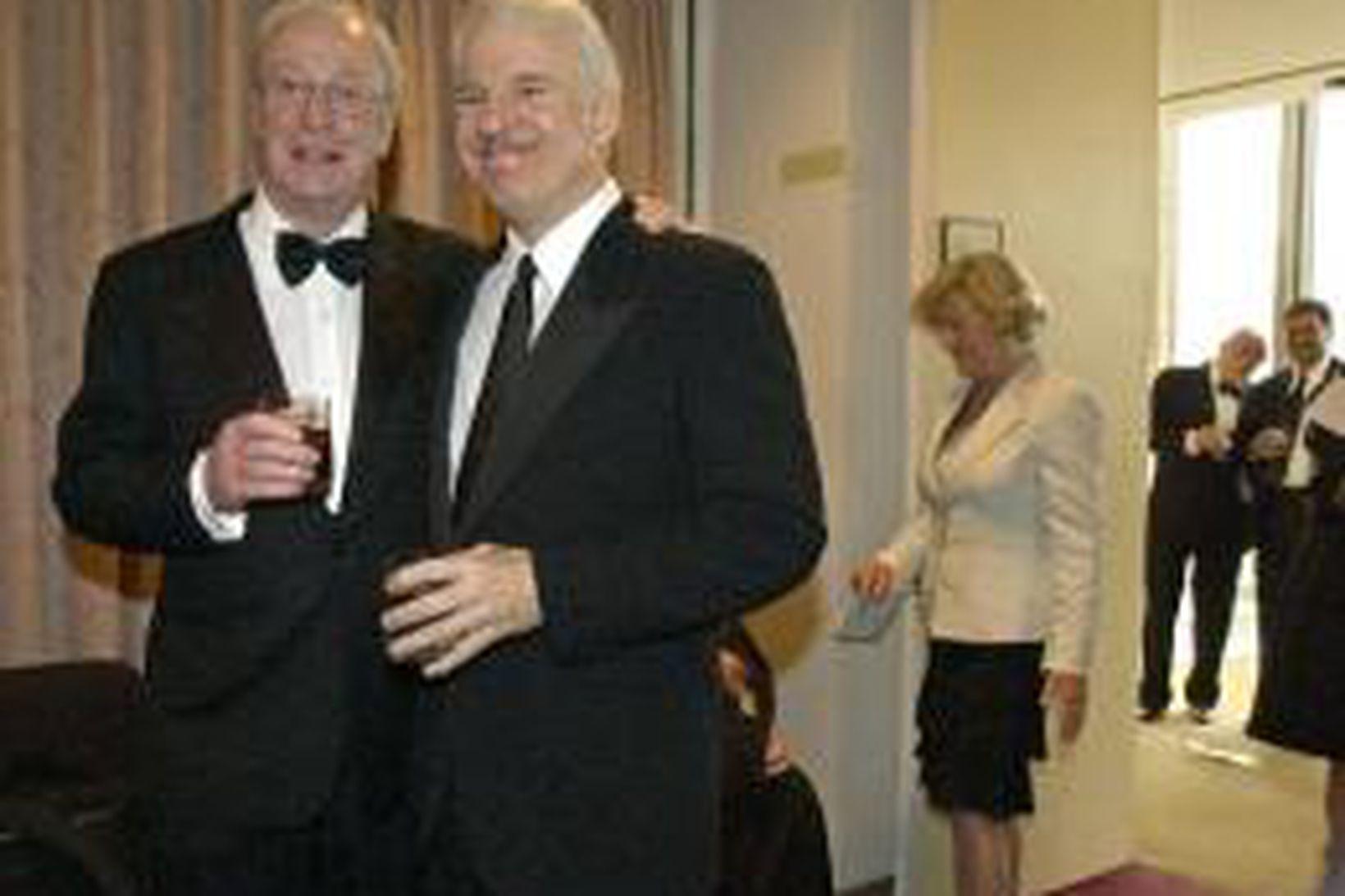 Michael Caine og Steve Martin í New York á mánudagskvöld.