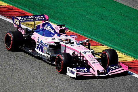 Sergio Perez í Spa-Francorchamps í gær.