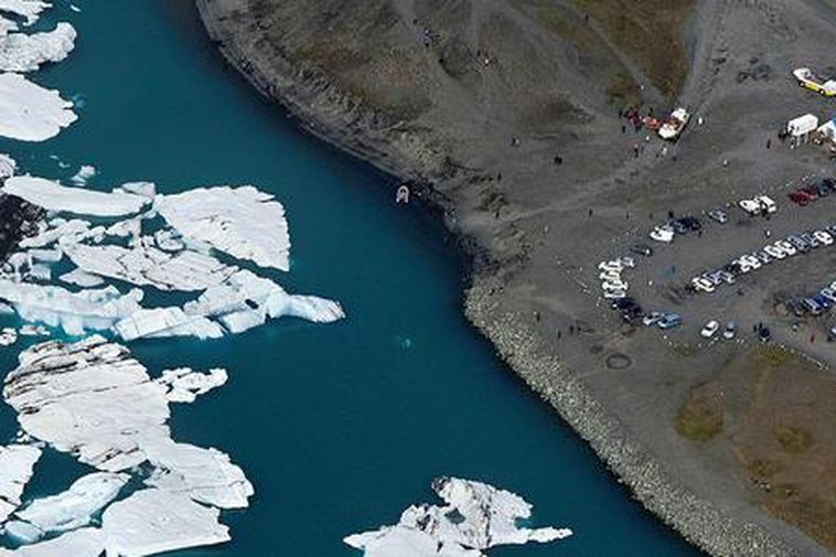 The Jökulsárlón glacial lagoon in East Iceland shot from above this weekend.