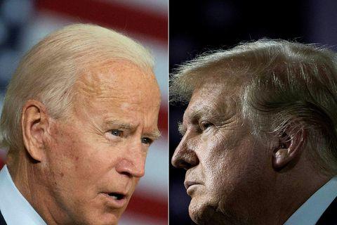 Joe Biden og Donald Trump, sem etja kappi í kosningunum, á samsettri mynd.