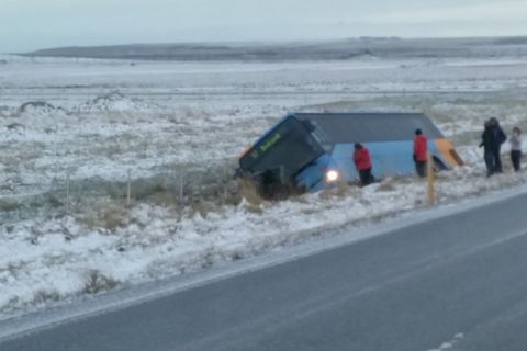One of the buses of Strætó, the public bus system, drove off the road just north of Reykjavik