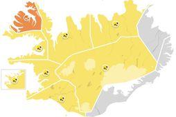 Appelsínugul viðvörun hefur verið gefin út á Vestfjörðum.