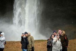 Ferðamenn við Seljalandsfoss í byrjun febrúar.