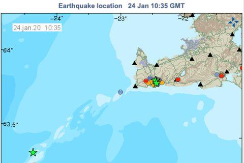 Earthquake map, Jan. 24, 2020.