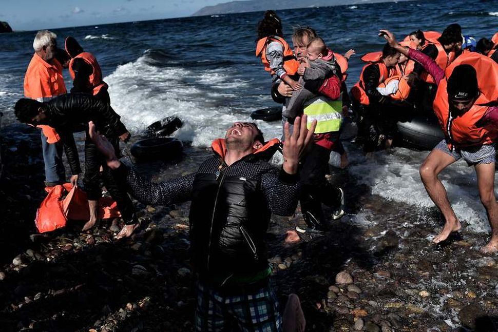 Frá komu flóttafólks til Lesbos.