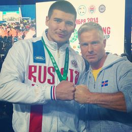 Sölvi Fannar and Sergey Frolkin after their wrestle.