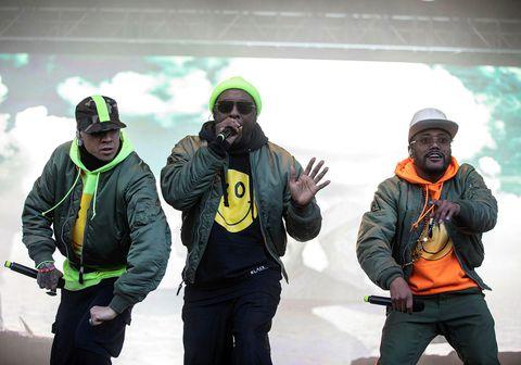Hluti liðsmanna Black Eyed Peas í góðu stuði á Secret Solstice-tónlistarhátíðinni í Laugardal í sumar.