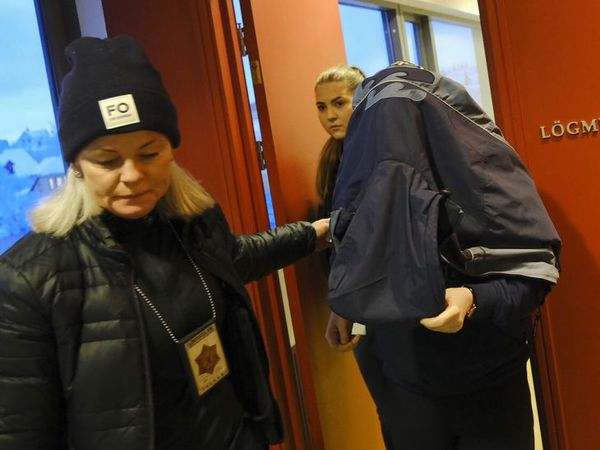 The woman arriving with a covered face at court today.