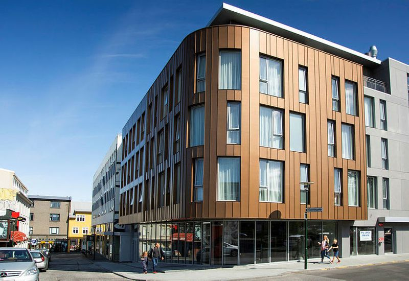 A new hotel building in downtown Reykjavík, operated by A Room with a View.
