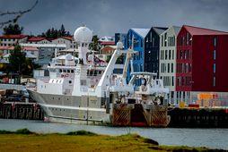 Árni Friðriksson, sem kannaði norðursvæðið, kom til Hafnarfjarðar í gær.