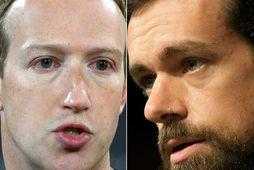 Samsett mynd af Mark Zuckerberg og Jack Dorsey.